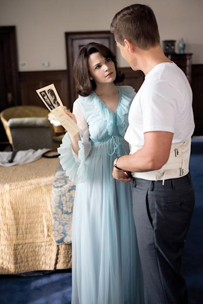 "This image released by National Geographic Channels shows Rob Lowe as President John F. Kennedy, right, and Ginnifer Goodwin as Jackie Kennedy in ""Killing Kennedy."" The film, based on Fox News host Bill O'Reilly and Martin Dugard's book by the same name, chronicles the events that culminated with the assassination of the nation's 35th president on Nov. 22, 1963. It airs Sunday on National Geographic Channel. ??(AP Photo/National Geographic Channels, Kent Eanes)"