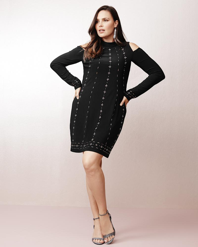 "From WHBM's new plus collection, featuring the <a href=""https://www.whitehouseblackmarket.com/store/product/plus+coldshoulder+black+knit+shift+dress/570221610?color=001&catId=cat11659287"" target=""_blank"">Cold Shoulder Black Knit Shift Dress</a>.  (White House Black Market)"