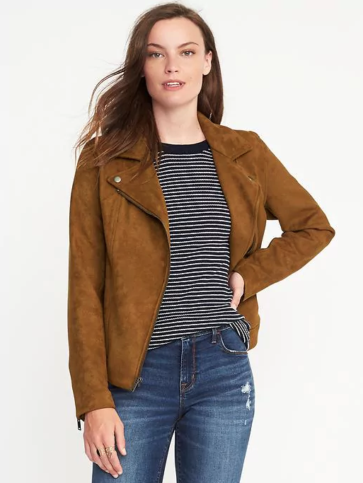 "Old Navy's sueded-knit moto jacket is <a href=""http://oldnavy.gap.com/browse/product.do?cid=74688&pcid=55474&vid=1&pid=776181022"" target=""_blank"">only $60</a>, and comes in two colors.  (Old Navy)"