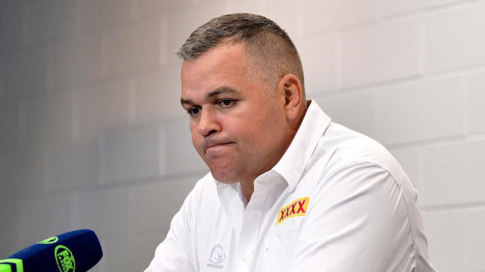 Pictured here, Anthony Seibold at a press conference after the Titans loss.