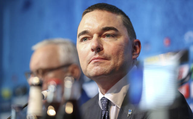 Hertha BSC investor Lars Windhorst speaks during a press conference after the resignation of coach Klinsmann two days ago, in Berlin, Germany, Thursday, Feb.13, 2020. (Andreas Gora/dpa via AP)