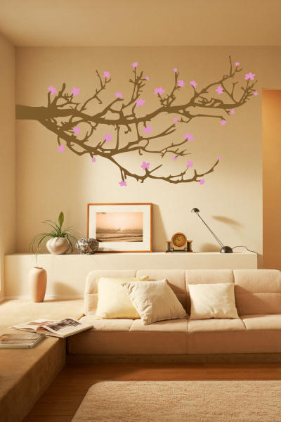 """This undated publicity photo released by courtesy of WALLTAT.com shows a """"Branches and Blossoms"""" wall decal. The decals are growing in popularity because they can easily be installed and removed without damaging walls or paint. (AP Photo/Courtesy of WALLTAT.com)"""