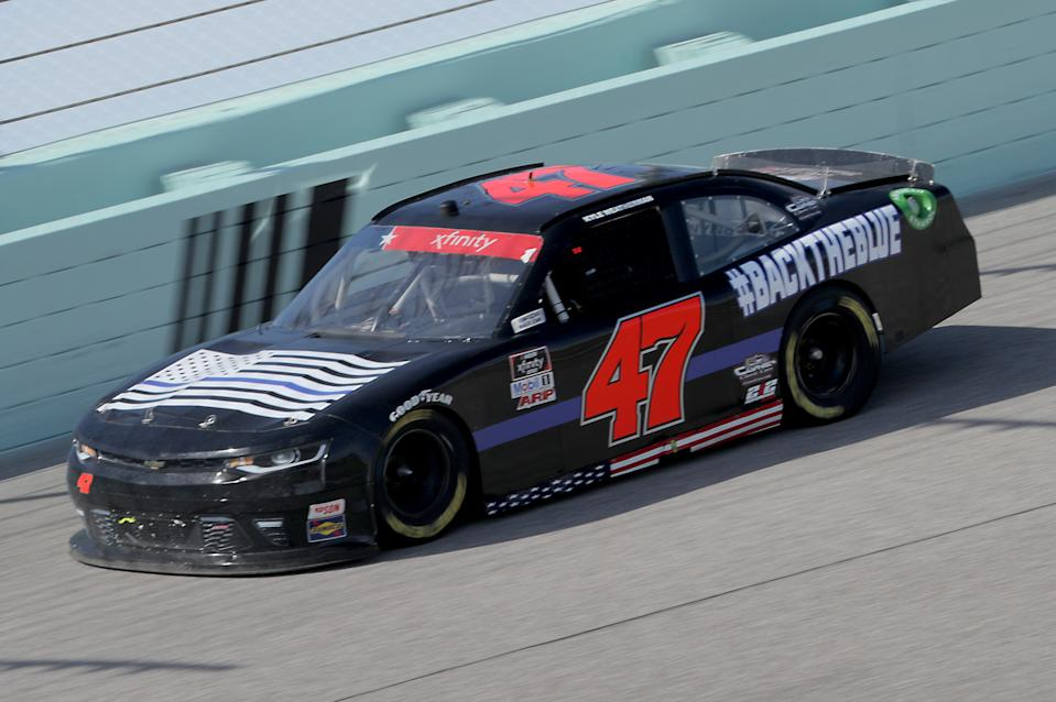 Kyle Weatherman, driver of the #47 Chevrolet, races during the NASCAR Xfinity Series Hooters 250 at Homestead-Miami Speedway on June 13, 2020 in Homestead, Florida.