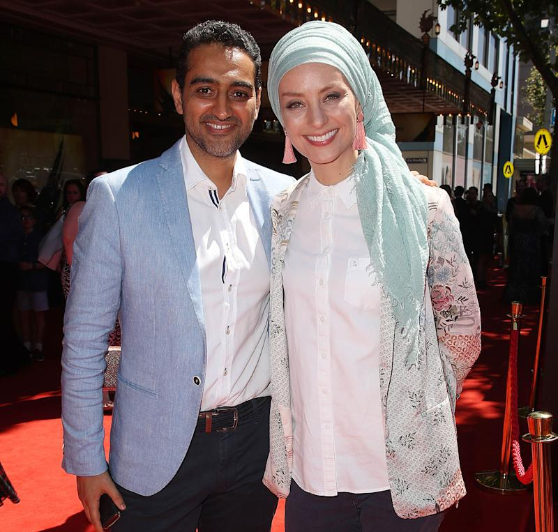 Waleed Aly and Susan Carland attend the opening night gala Harry Potter and the Cursed Child at Princess Theatre on February 23, 2019 in Melbourne, Australia. (Photo by Scott Barbour/Getty Images)