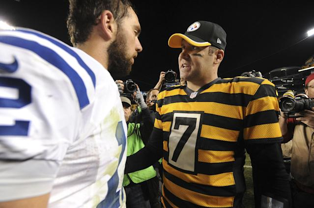Indianapolis Colts quarterback Andrew Luck, left, greets Pittsburgh Steelers quarterback Ben Roethlisberger (7) following an NFL football game on Sunday, Oct. 26, 2014, in Pittsburgh. Pittsburgh won 51-34. (AP Photo/Don Wright)