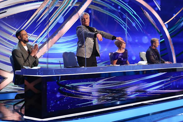 Editorial use only  Mandatory Credit: Photo by Matt Frost/ITV/Shutterstock (11747857p)  Ashley Banjo, John Barrowman, Jayne Torvill and Christopher Dean  'Dancing On Ice' TV show, Series 13, Episode 4, Hertfordshire, UK - 07 Feb 2021