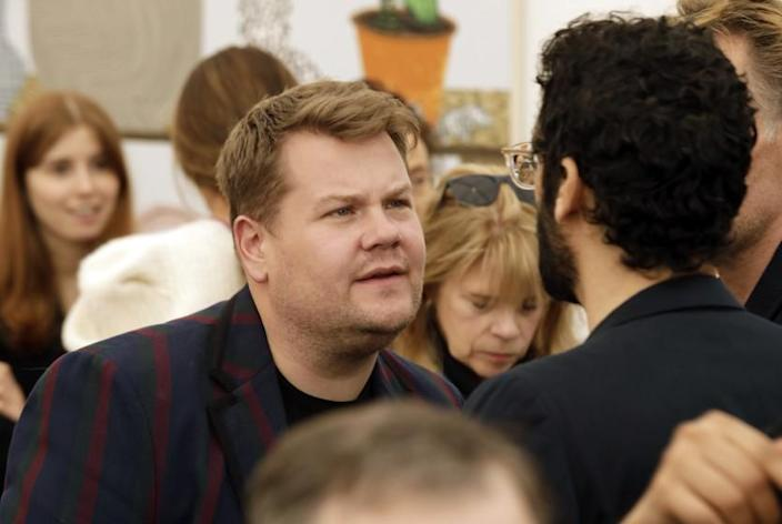 LOS ANGELES, CALIFORNIA—FEB. 12, 2020—James Corden along with thousands attend Frieze 2020 in Los Angeles, California, Feb. 12, 2020. (Carolyn Cole/Los Angeles Times)