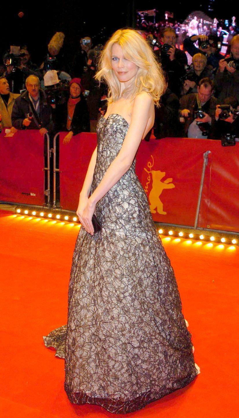 "<p>At the premiere for ""Cold Mountain"" in strapless lace.</p>"