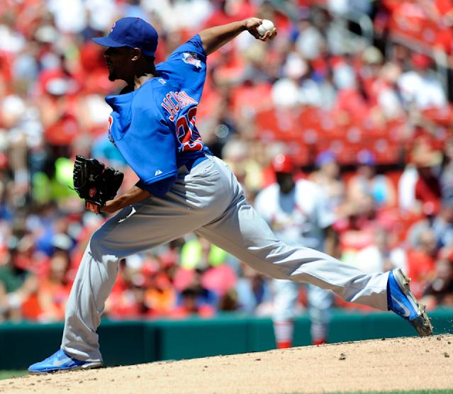 Chicago Cubs' starting pitcher Edwin Jackson throws against the St. Louis Cardinals in the first inning in a baseball game on Sunday, Aug. 11, 2013, at Busch Stadium in St. Louis. (AP Photo/Bill Boyce)