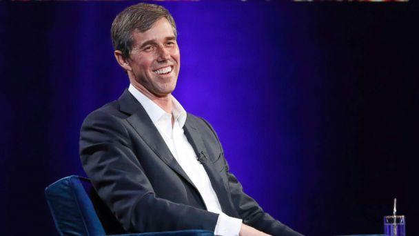 PHOTO: Former Democratic Texas congressman Beto O'Rourke laughs during an interview with Oprah Winfrey for 'Oprah's SuperSoul Conversations from Times Square,' Feb. 5, 2019, in New York. (Kathy Willens/AP)