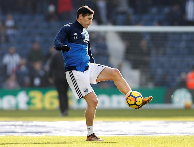 "Soccer Football - Premier League - West Bromwich Albion vs Huddersfield Town - The Hawthorns, West Bromwich, Britain - February 24, 2018 West Bromwich Albion's Gareth Barry warms up before the match Action Images via Reuters/Paul Childs EDITORIAL USE ONLY. No use with unauthorized audio, video, data, fixture lists, club/league logos or ""live"" services. Online in-match use limited to 75 images, no video emulation. No use in betting, games or single club/league/player publications. Please contact your account representative for further details."