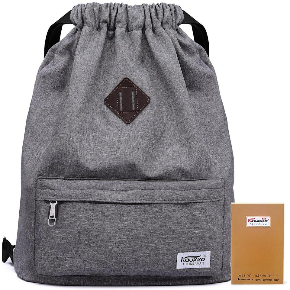 <p>This high-quality <span>Kaukko Drawstring Sports Backpack</span> ($20) is lightweight yet durable. Its zipped front pocket and wide shoulder straps make it easy to take this bag from the office to the gym.</p>