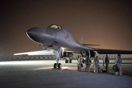 U.S. Air Force Central Command photo of a U.S. Air Force B-1B Lancer and crew in Doha