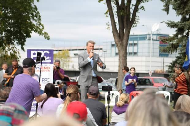 People's Party Leader Maxime Bernier speaks at a rally at Borden Park in Edmonton on Saturday, Sept. 11, 2021.  (Francois Joly/CBC Radio-Canada - image credit)