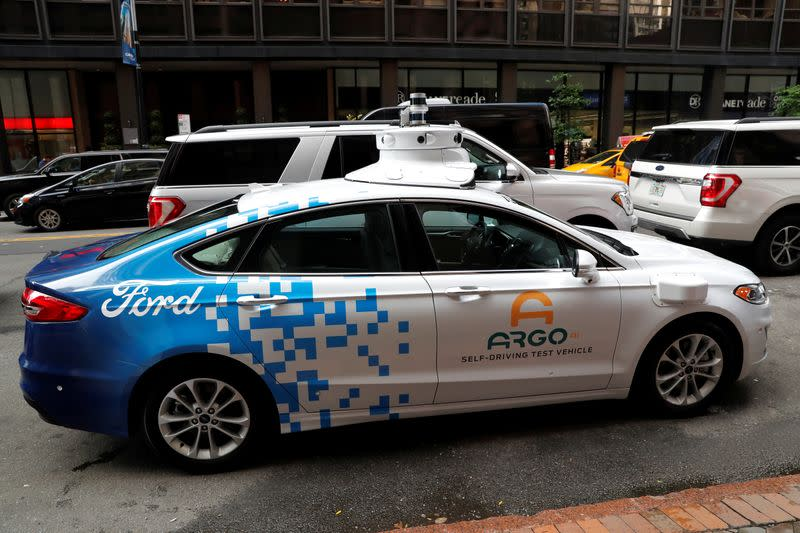 Argo Ai self driving prototype vehicle is seen outside a Ford and Volkswagen joint news conference in New York City