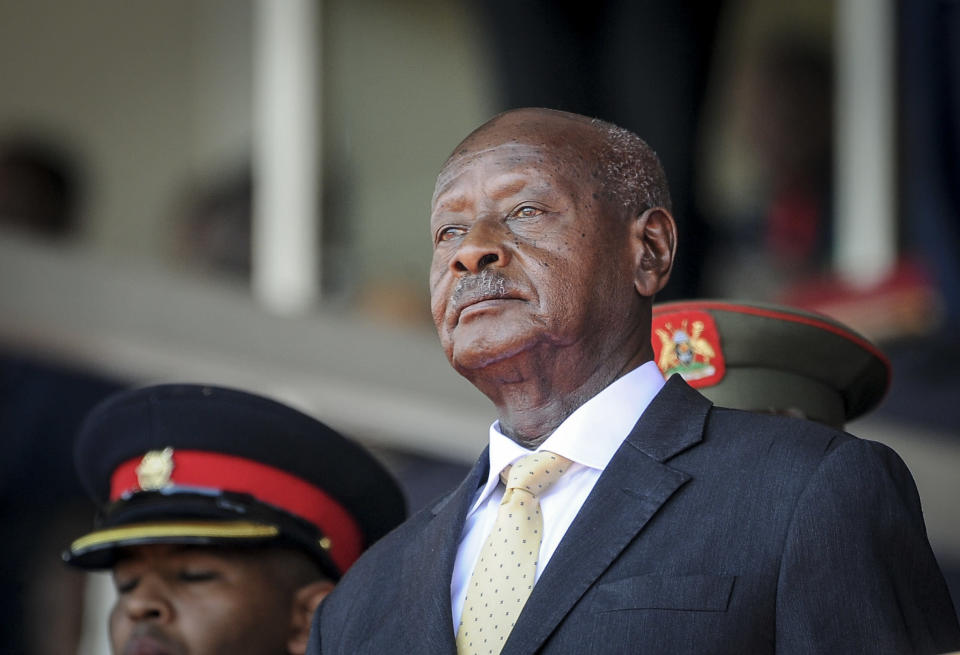 FILE- In this Feb. 11, 2020 file photo, Uganda's President Yoweri Museveni attends the state funeral of Kenya's former president Daniel Arap Moi in Nairobi, Kenya. Despite failing to dislodge the long-time leader Museveni, opposition challenger Bobi Wine has emerged from Uganda's Jan. 14, 2021 disputed polls as the country's most powerful opposition leader after his party won the most seats of any opposition group in the national assembly. (AP Photo/John Muchucha, File)