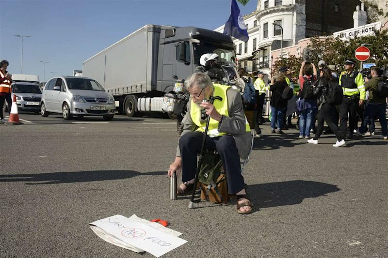 John Lynes, 91, at the protest. Ten arrests were made during the Extinction Rebellion climate emergency protest at Dover Docks on Saturday. (SWNS)