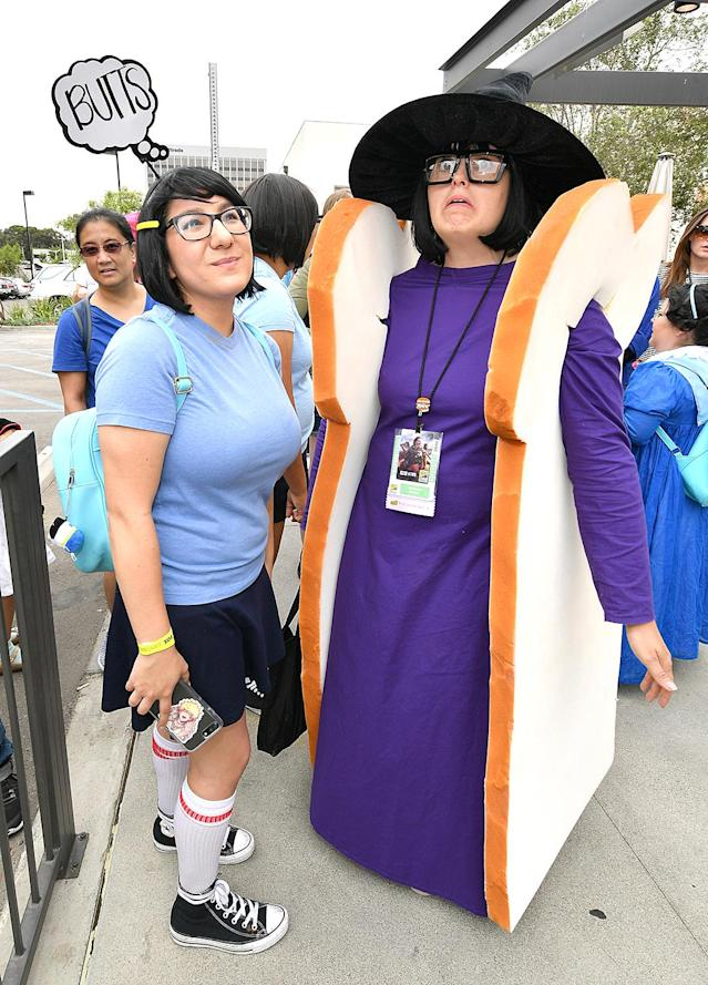<p>Cosplayers dressed as Tina and Tina as Sandwitch from <em>Bob's Burgers</em> attend the Bob's Burgers x Shake Shack Pop Up at Comic-Con International on July 20, 2018, in San Diego. (Photo: Dia Dipasupil/Getty Images) </p>