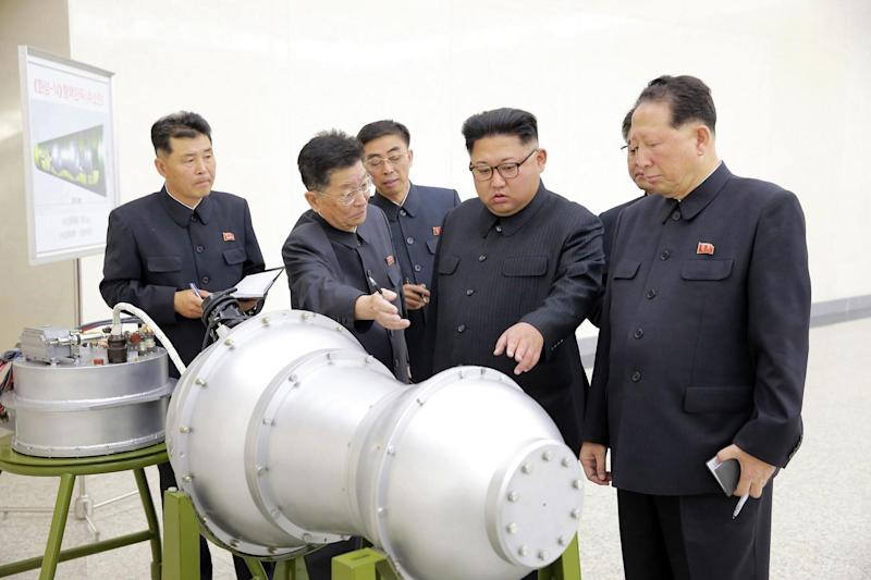 North Korean leader Kim Jong Un inspects components of what is claimed to be a hydrogen bomb as tensions rose with the US in recent weeks: AP