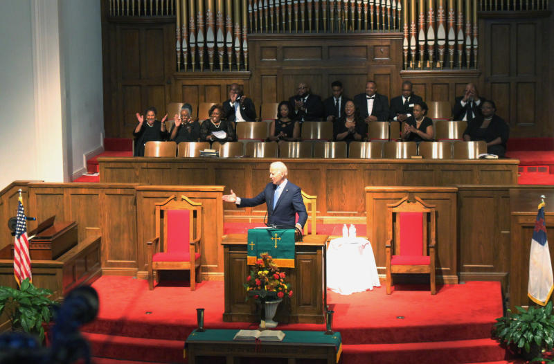 "Former Vice President and presidential candidate Joe Biden attends a service at 16th Street Baptist Church in Birmingham, Ala., Sunday, Sept. 15, 2019. Visiting the black church bombed by the Ku Klux Klan in the civil rights era, Democratic presidential candidate Biden said Sunday the country hasn't ""relegated racism and white supremacy to the pages of history"" as he framed current tensions in the context of the movement's historic struggle for equality. (Ivana Hrynkiw/The Birmingham News via AP)"