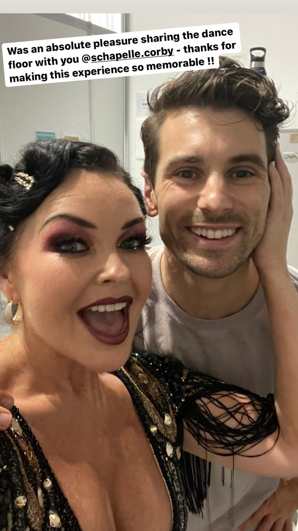Matthew 'Matty J' Johnson poses fro a selfie with Schapelle Corby backstage on Dancing With The Stars 2021