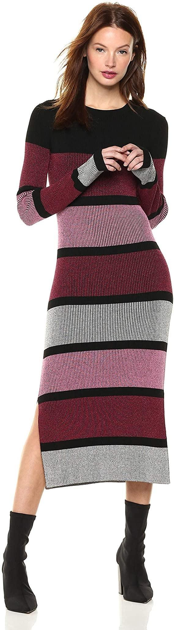 <p>Stay cozy in this stretchy <span>Cable Stitch Stripe Ribbed Dress</span> ($70).</p>
