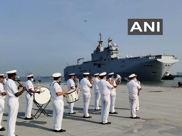 The welcome ceremony for French naval ships on Tuesday