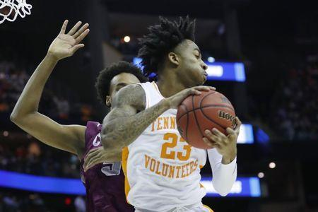 Mar 22, 2019; Columbus, OH, USA; Tennessee Volunteers guard Jordan Bowden (23) collects a rebound in the second half against the Colgate Raiders in the first round of the 2019 NCAA Tournament at Nationwide Arena. Mandatory Credit: Rick Osentoski-USA TODAY Sports