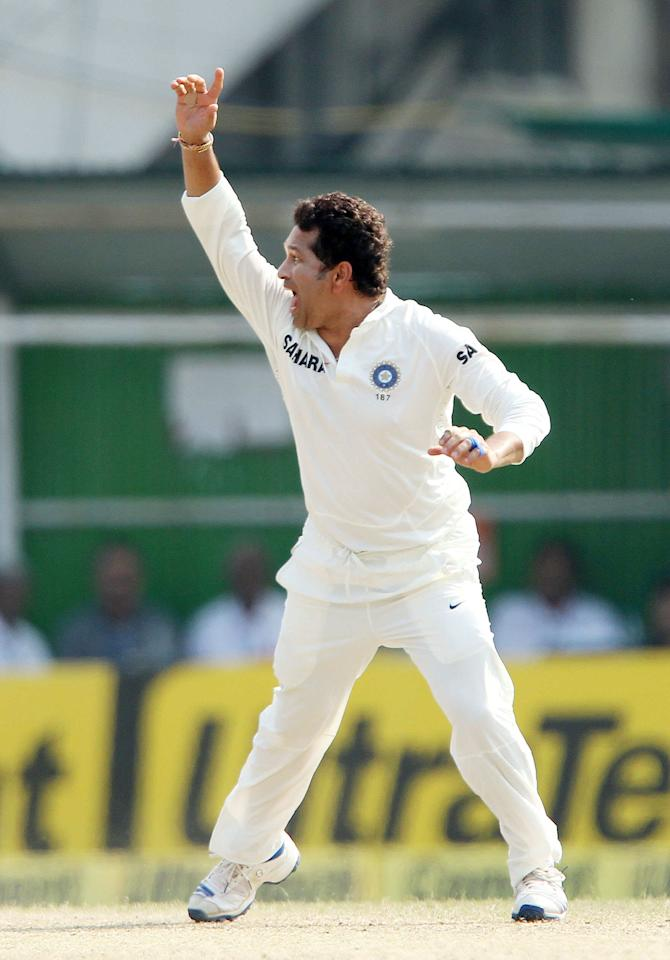 Sachin Tendulkar of India appeals during day three of the first Star Sports test match between India and The West Indies held at The Eden Gardens Stadium in Kolkata, India on the 8th November 2013  Photo by: Ron Gaunt - BCCI - SPORTZPICS