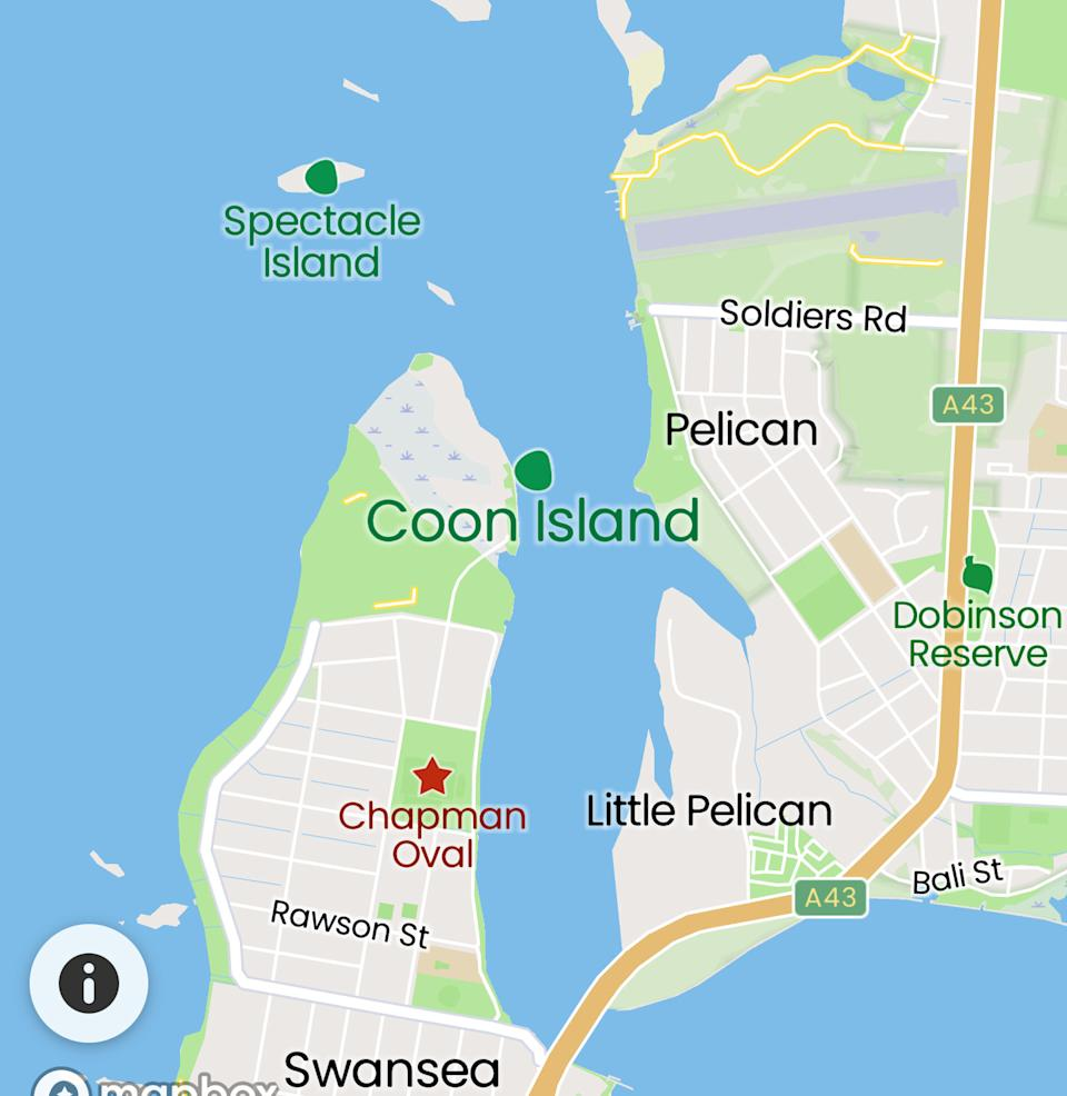 A screenshot from Google Maps showing the island's location.