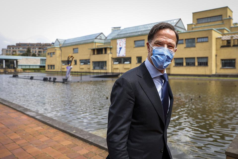 Dutch Prime Minister Mark Rutte, wearing a face mask, arrives to light the liberation fire monument at the Kunstmuseum in the Hague, on May 5, 2021. - The lighting of the freedom fire is the starting signal for all online activities on Liberation Day. In 2021, the province of South Holland will host the National Liberation Celebrations. - Netherlands OUT (Photo by ROBIN VAN LONKHUIJSEN / ANP / AFP) / Netherlands OUT (Photo by ROBIN VAN LONKHUIJSEN/ANP/AFP via Getty Images) (Photo: ROBIN VAN LONKHUIJSEN via Getty Images)