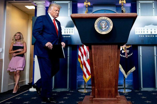 PHOTO: President Donald Trump and White House press secretary Kayleigh McEnany arrive for a news conference in the James Brady Press Briefing Room at the White House, Aug. 31, 2020, in Washington. (Andrew Harnik/AP)
