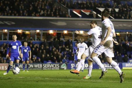 Britain Football Soccer - Birmingham City v Leeds United - Sky Bet Championship - St Andrews - 3/3/17 Leeds' Chris Wood scores their second goal  Mandatory Credit: Action Images / Carl Recine Livepic