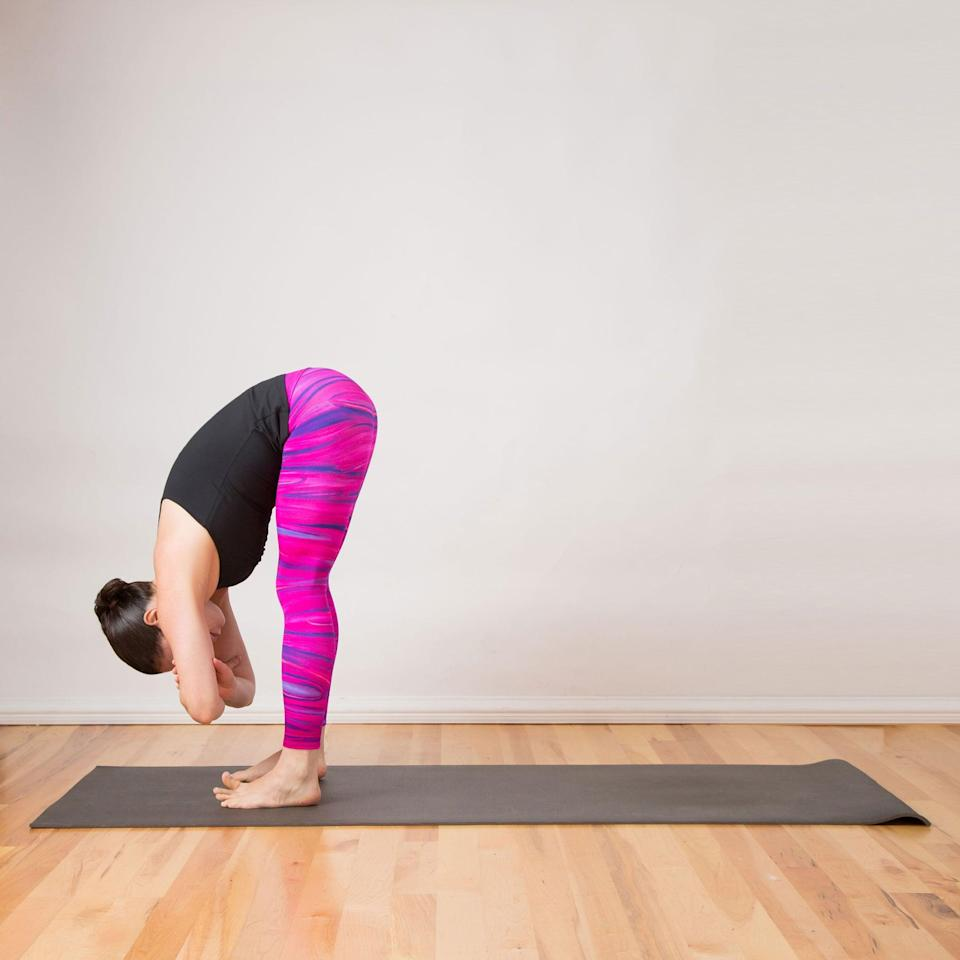 <ul> <li>Begin standing with your feet hip-width apart, arms at your sides.</li> <li>Take a breath in, and as you exhale, bend at your hips, folding over your thighs. Keep your back as straight as you can, initiating the bend from your hips and waist.</li> <li>Bend your arms and take ahold of your opposite elbows, holding your right elbow in your left hand and your left elbow in your right hand.</li> <li>Keep your weight pressing forward, feeling the stretch in your lower back and hamstrings. Gently sway your torso and nod and shake your head to release tension in your neck.</li> <li>Hold for 30 seconds.</li> </ul>