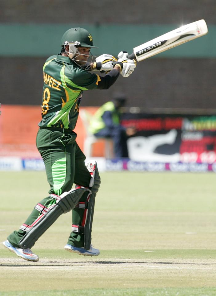 Pakistan batsman Muhammad Hafeez bats during the first game of the three match ODI cricket series between Pakistan and hosts Zimbabwe at the Harare Sports Club August 27, 2013.  AFP PHOTO / JEKESAI NJIKIZANA        (Photo credit should read JEKESAI NJIKIZANA/AFP/Getty Images)