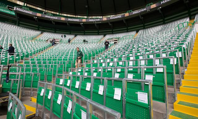 The safe standing area at Celtic Park.