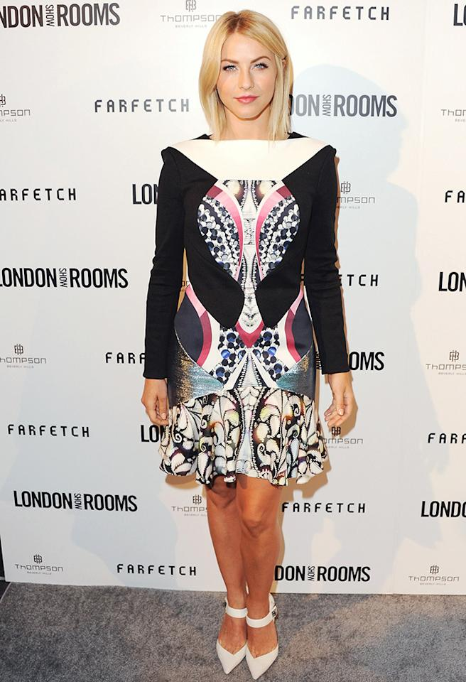 "Perhaps Julianne Hough was auditioning for ""Sister Act 3: Back in the Psychedelic Habit,"" or perhaps her stylist was playing a nasty trick. Either way, this Peter Pilotto dress should be discarded ASAP. (4/9/2013)"