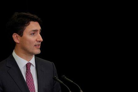 Canadian Prime Minister Justin Trudeau speaks to the media during a visit to the Manhattan borough of New York