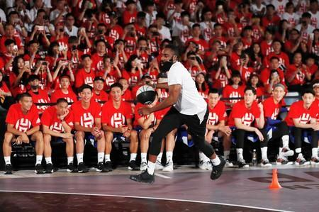 NBA player James Harden of the Houston Rockets attends a promotional event in Taipei