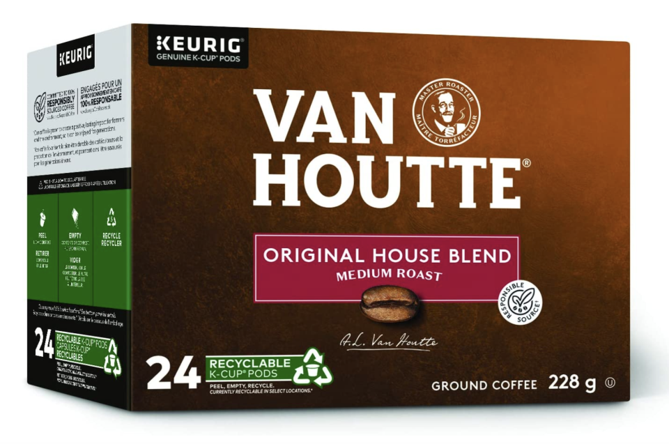 brown and green box of Van Houtte Original House Blend Recyclable K-Cup Coffee Pods