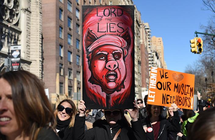 """<p>Protestors march down Central Park West during a """"Not My President's Day"""" rally in New York, Feb. 20, 2017. (Photo: Timothy A. Clary/AFP/Getty Images) </p>"""