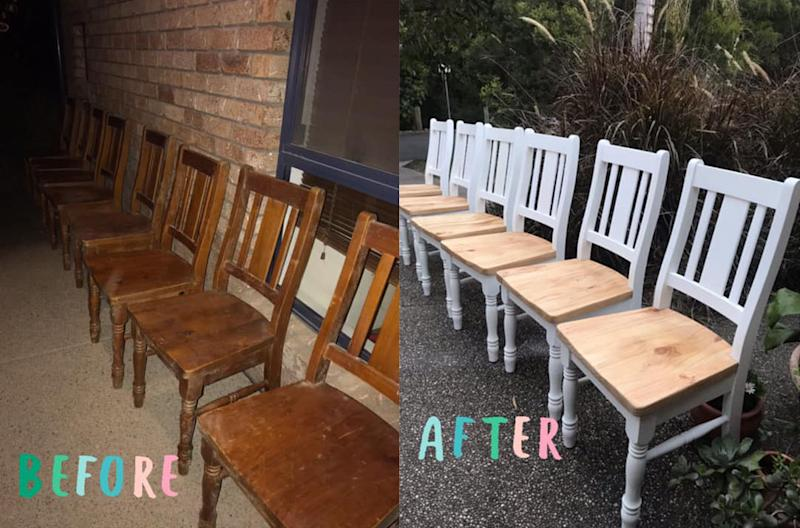 The solid pine chairs came up a treat. Photo: Facebook (supplied).