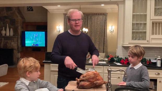 Comedian Jim Gaffigan's Thanksgiving holiday was shared with the same people he's been in lockdown with since March. / Credit: CBS News