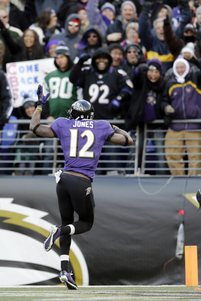 Baltimore Ravens wide receiver Jacoby Jones celebrates his touchdown reception in the end zone during the second half of an NFL football game against the New York Jets in Baltimore, Sunday, Nov. 24, 2013. (AP Photo/Patrick Semansky)