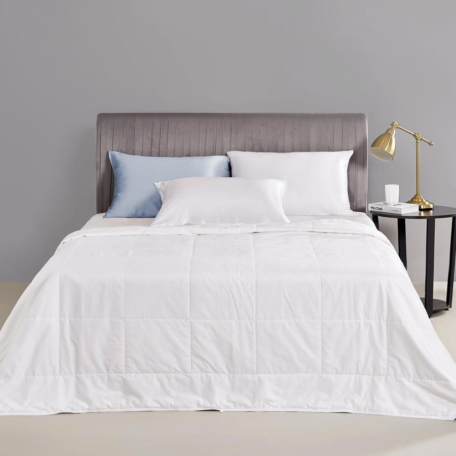 """<p><strong>Momme Silk</strong></p><p>mommesilk.com</p><p><strong>$129.00</strong></p><p><a href=""""https://www.mommesilk.com/products/silk-comforter?currency=USD&variant=34422838427809&campaignid=10645491299&adgroupid=104038587806&network=u&creative=451275219337&device=c&gclid=Cj0KCQjwkZiFBhD9ARIsAGxFX8Dw7UkDBGtJ-gOXBCTEEc3iCbHJXTNFVGW2iCBZxLzhtZAVeTTA8U0aAgpiEALw_wcB"""" rel=""""nofollow noopener"""" target=""""_blank"""" data-ylk=""""slk:Shop Now"""" class=""""link rapid-noclick-resp"""">Shop Now</a></p><p>Choose this one from Momme Silk if you're looking for a comforter that's really breathable, soft, and lightweight. </p>"""