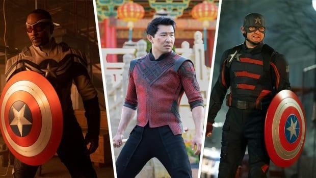 Marvel Studios' The Falcon and the Winter Soldier and Shang-Chi and the Legend of the Ten Rings are signs of how the superhero industry is changing. Seen above, Anthony Mackie as the new Captain America, left, Simu Liu as Shang-Chi, middle, and Wyatt Russell as U.S. Agent.  (Marvel Studios - image credit)