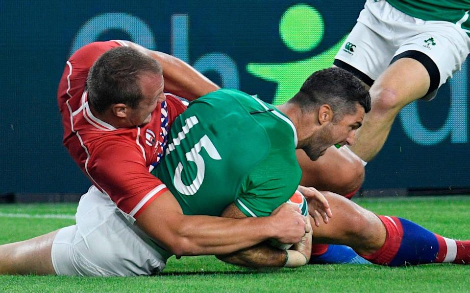 Rob Kearney scores a try for Ireland - AFP