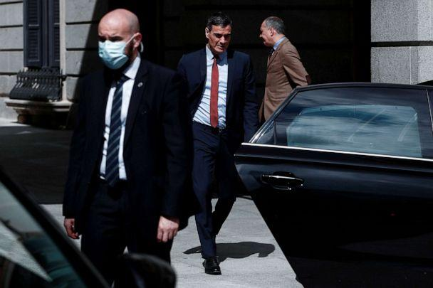 PHOTO: Spanish Prime Minister Pedro Sanchez leaves after a session at the Lower Chamber of the Spanish Parliament in Madrid on April 22, 2020. (Sebastian Mariscal/POOL/AFP via Getty Images)