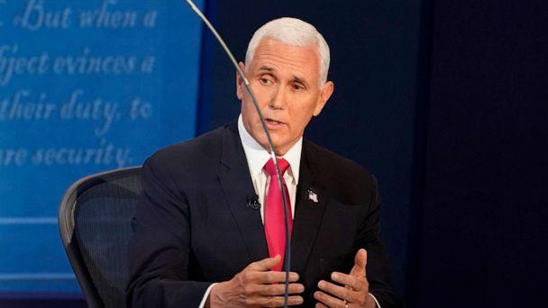 PHOTO: Vice President Mike Pence speaks during the 2020 vice presidential debate with Democratic vice presidential nominee and Senator Kamala Harris, on the campus of the University of Utah in Salt Lake City, Oct. 7, 2020. (Morry Gash/Reuters)