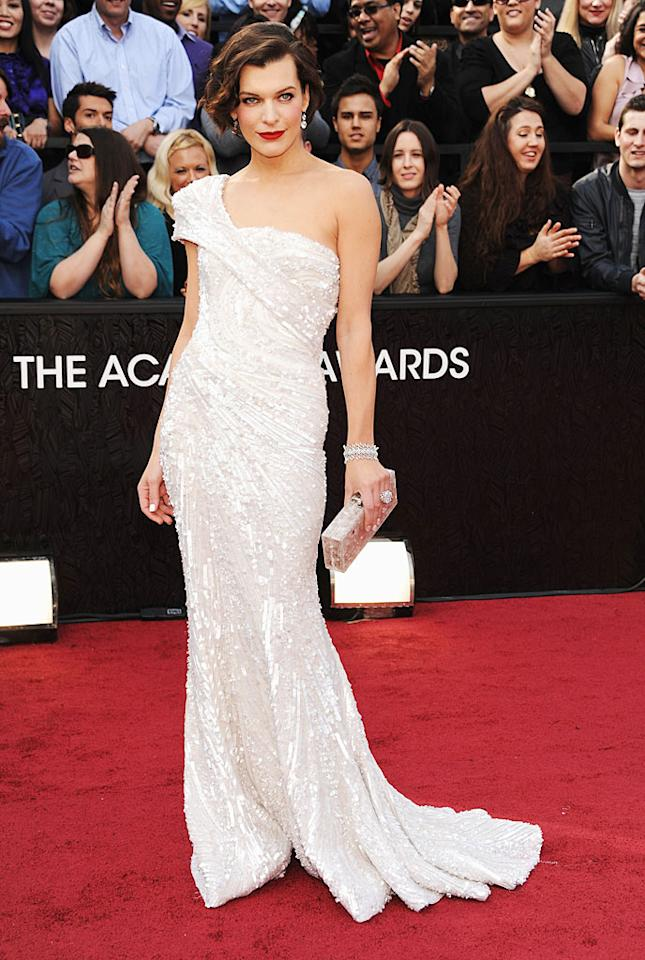 Milla Jovovich arrives at the 84th Annual Academy Awards in Hollywood, CA.